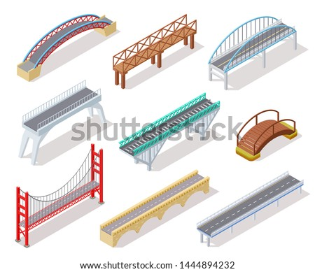 Isometric bridge. Concrete bridges drawbridge river arch bridging city road infographics isolated 3d element. Road crossing isometric drawbridge, construction architecture bridge illustration