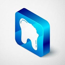 Isometric Broken tooth icon isolated on grey background. Dental problem icon. Dental care symbol. Blue square button. Vector.