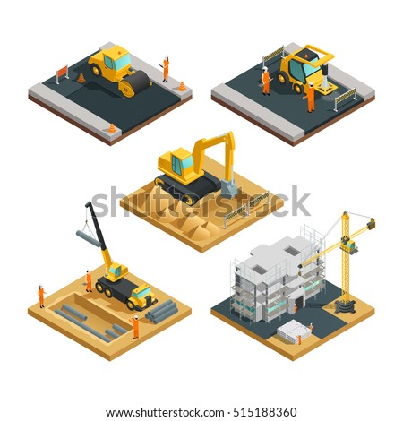 Isometric building and road construction compositions set with transport equipment and workers isolated on white background vector illustration