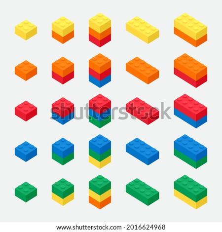 isometric building brick block