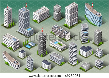 Isometric Building City Palace Private Real Estate. Public Building icon Collection Luxury Hotel Garden. Isometric Building Tiles. 3d Urban Building Map Illustration Elements Set Business Vector Game