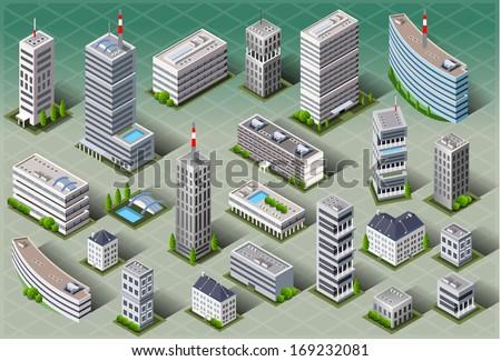 isometric building city palace