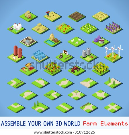 isometric building farm
