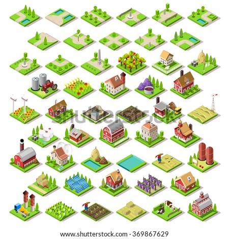 isometric building farm