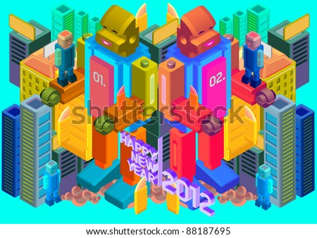 isometric building happy new year greeting