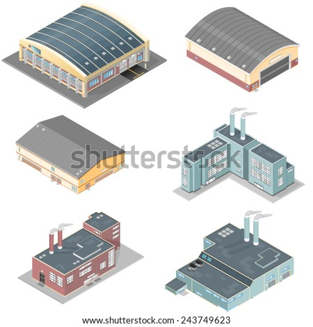 isometric building icon set. Isometric industrial buildings. Isometric buildings