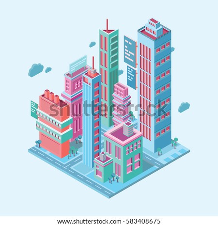 isometric building megalopolis