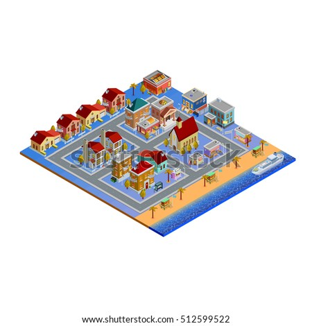 isometric building set with