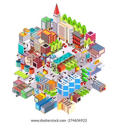 isometric building urban city