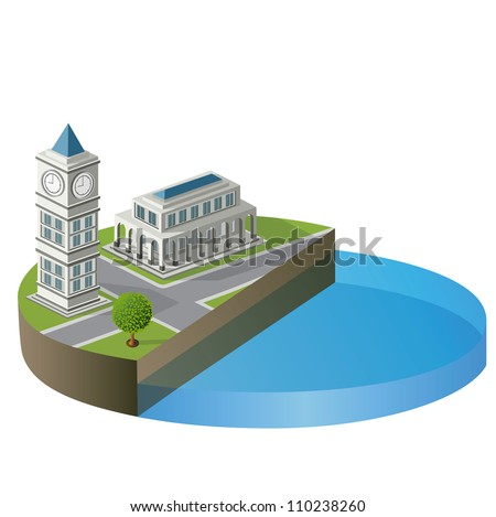 Isometric building with a river