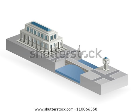 Isometric building with a river and a bridge