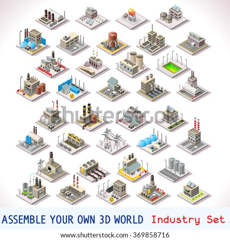 isometric buildings industrial