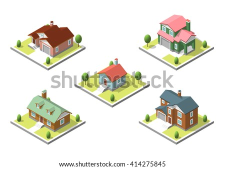 isometric buildings set flat
