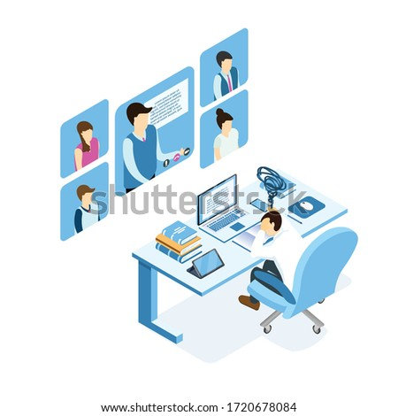 Isometric burnout concept, young man sitting at the table, businessman or student burning brain form work or study.