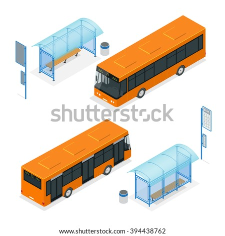 Isometric bus stop. Flat 3d vector illustration. For infographics and design.