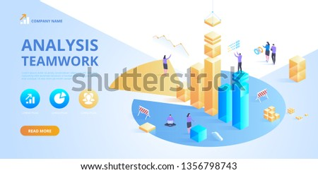 Isometric business analysis planning. Project management and financial report strategy. Consulting team. Collaboration concept with collaborative people. Isometric vector illustration.