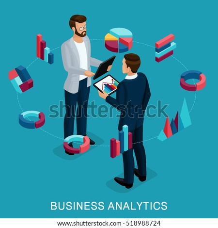 Isometric Business Analyst, male businessman, concept planning. Young businessman stylish hairstyle business clothes, work on modern systems, tablet wi-fi. Vector illustration.