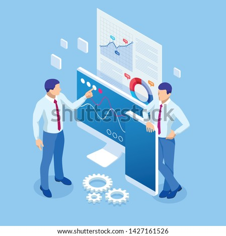 Isometric business analytics and financial technology, data visualization concept. Business Analytics technology using big data, cloud computing, statistical model. Photo stock ©