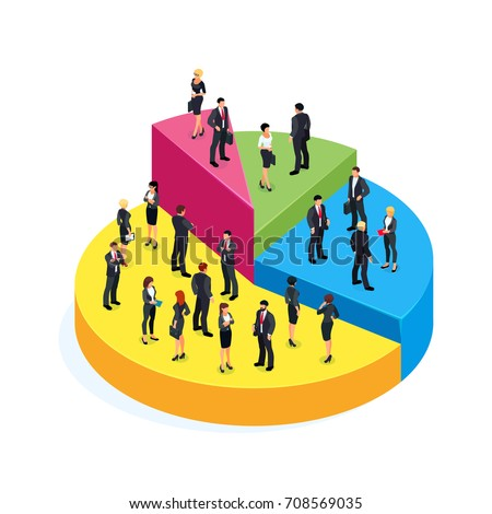 Isometric business concept of profit. 3d businessmen standing on a pie chart, which shows the level of their income. Vector illustration.
