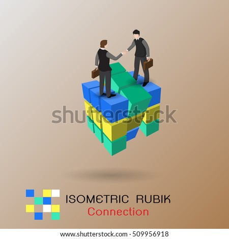 Isometric business connection concept. Partnership. Vector illustration isometric design. Businessmen connecting handshake, isolated on rubik. Cooperation interaction.