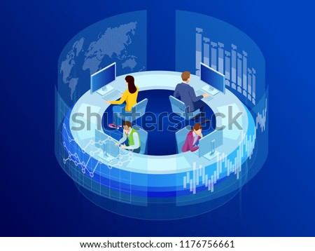 Isometric Business data analytics process management or intelligence dashboard on virtual screen showing sales and operations data statistics charts and key performance indicators concept.