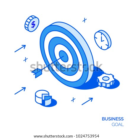 Isometric business goal line style design concept. Target illustration