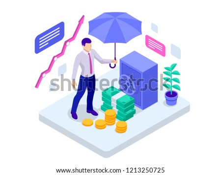 Isometric business insurance, investment insurance and money storage concept. Vector illustration Stockfoto ©