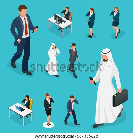 isometric business man and