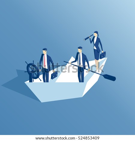 isometric business people are floating on a paper boat on the sea, leader at the helm, another businessman stands with a paddle, a businesswoman looking through a telescope. business concept team