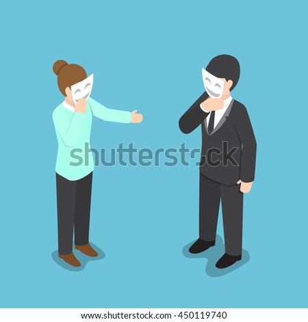 Isometric business people covering their face with smiling mask, hypocrisy, psychological health concept