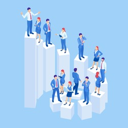 Isometric business people on the steps of success and career. Control, support and making decision concept illustration
