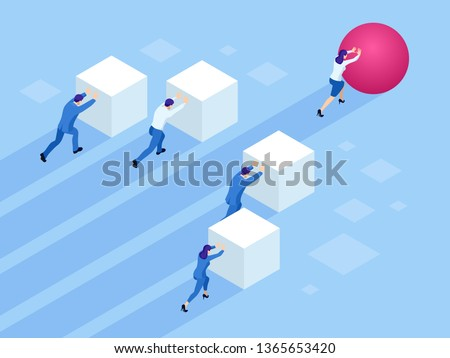 Isometric Business people pushing cubes. Winner easily moving the cube. Winning strategy, efficiency, innovation in business concept.