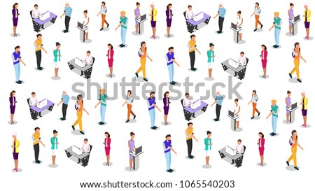 isometric business people vector 3D set. Businessman and business woman, business clothes. The concept of office workers, director and subordinates isolated on white background. -stock vector