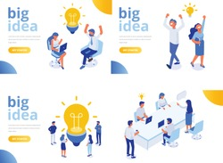 Isometric business people with big Light Bulb Idea. People working together on new Project. Creativity, Brainstorming, Innovation concept. Flat Vector illustration.