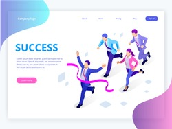 Isometric Business Success Concept. Entrepreneur business man leader. Businessman and his business team crossing finish line and tearing red ribbon finishing first in a market race.