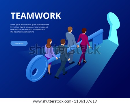 Isometric Business Success Key Concept. Business teamwork key of success concept. Group of people lifting key to success. Vector illustration.