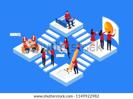 Isometric business team work