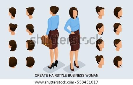 isometric business woman set 1