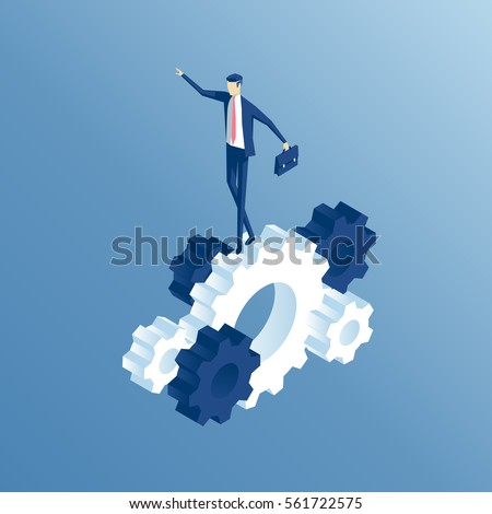 Isometric businessman goes on the prongs of the gear. the employee goes on the gears and rotate them, business concept vector illustration