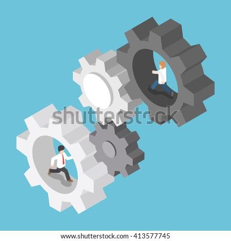 Isometric businessman running inside the gear, teamwork, business mechanism system concept, VECTOR, EPS10