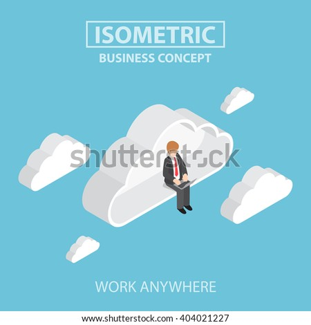 isometric businessman sitting