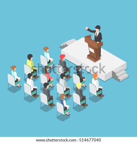 Isometric businessman speaking at a podium in a conference, public speaker, business meeting concept