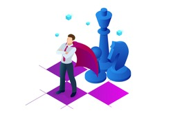 Isometric businessman standing on chess board. Strategy, management, leadership concept. Business strategy.