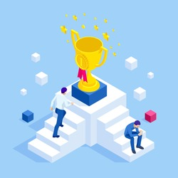 Isometric businessman success, leadership. A man climbs the steps of career growth and success to the gold cup. A symbol of success, good luck and wealth.
