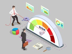 Isometric businessman turning risk meter arrow back with rope, flat vector illustration. Effective risk management, measurement, monitoring, assessment and control.