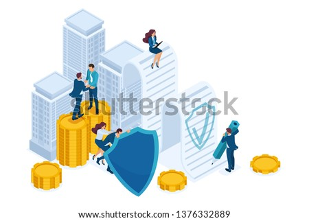 Isometric Businessmen insure their assets, investments and shares, shield. Concept for web design.