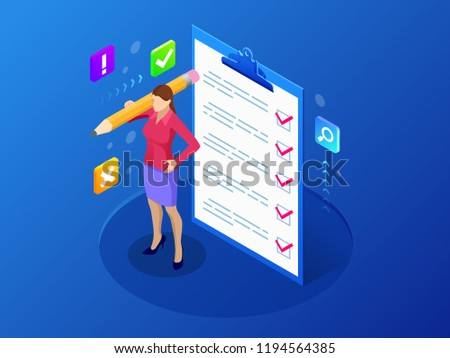 Isometric businesswoman with checklist and to do list. Clipboard with a checklist. Project management, planning and keeping score of the completed tasks concept.