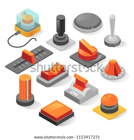 Isometric buttons vector set. isolated from background collection of various realistic buttons, levers, sliders, toggle switches in gray and red or orange colors. Isometric or 3d design.