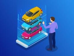 Isometric buy a car or rental a car online design web banner. Used cars app vector illustration