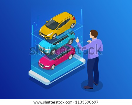 Isometric buy a car or rental a car online design web banner. Used cars app vector illustration